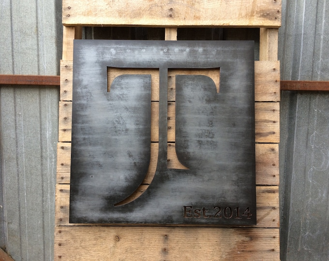 Family Monogram, Above bed decor, Plasma Cut Metal Art, Metal Script or Saying Sign, Aniversary gift