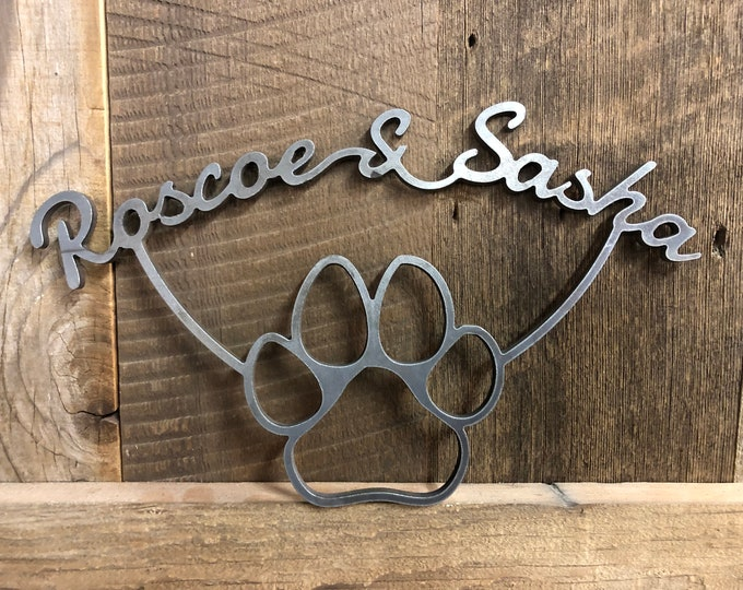 above bed decor, Plasma Cut Metal Art, Pet Lovers Paw Sign, dog paw, cats paw
