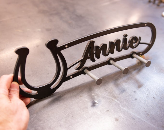 Metal Sign, Horse Sign, Metal Art, Cutting Horse, Coat Hook, Stall Hook, Robe hook, Stall Name Plate,