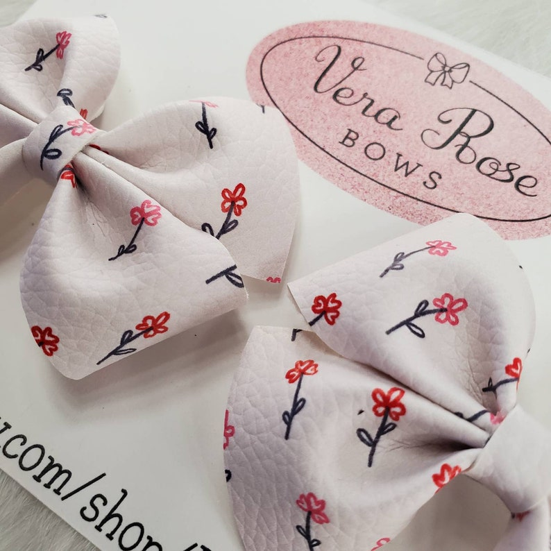 pigtail bows floral pigtail bow pigtail set handmade Floral collection floral bows vera rose bows floral bows hairbows