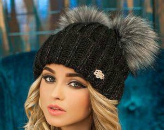 BLACK knit hat Fur pompom Beanie Two pom poms Women knit beanie Warm cozy  hat for Girl Teenager hat Wool knit hat db826c8a610