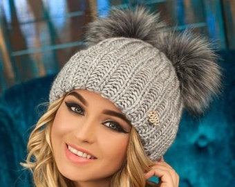 fa963617695 2 colors of gray Super beanie Fur pompom hat Two pom poms Women knit beanie  Warm cozy hat for Girl Teenager hat Wool knit hat