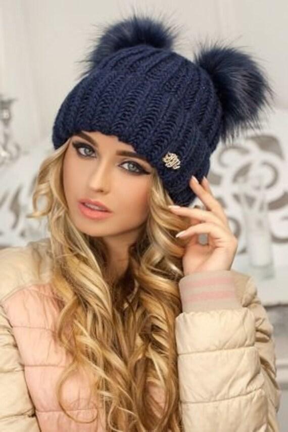 Frauen-Wintermütze strickte Damenmode große Pom Pom