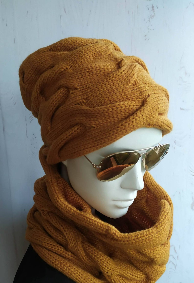 MUSTARD beautiful Knit set hat and scarf snood Yellow mustard warm wool beanie and scarf snood Knit kit for Women CHRISTMAS gift for her