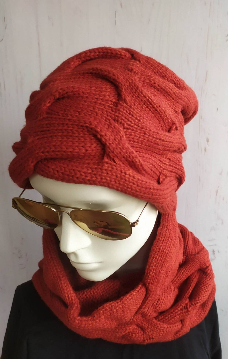 BURNT ORANGE Super cool Knit set hat and scarf snood Siena Color Warm wool beanie and Scarf snood Knit kit for Women CHRISTMAS gift for her