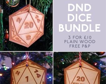 Dungeons and Dragons DND Secret santa. Dice Baubles Christmas Decoration
