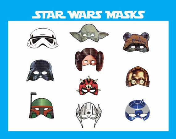 picture about Printable Star Wars Mask titled Fast DL- Star Wars masks - 10 masks - Electronic - jedi Birthday Celebration -Printable