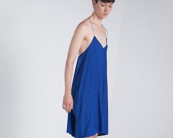 325f31e389c61 Party-Kleid - Oversize - Sommerkleid - lose Kleid - minimalistischen Kleid  - blau - V Hals Kleid - kurzes Kleid - lässige Kleid
