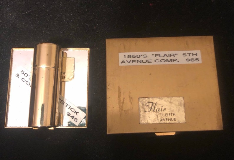Antique compact and matching lipstick holder 5th Avenue