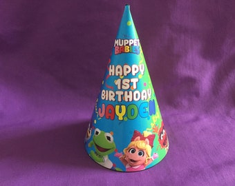 65376efc545f2 Personalized Muppet Babies Birthday Party Cone Hat
