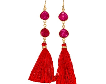 18d4444b6 925 Solid Sterling Silver Gold Plated Ruby Dyed Tassel Earring