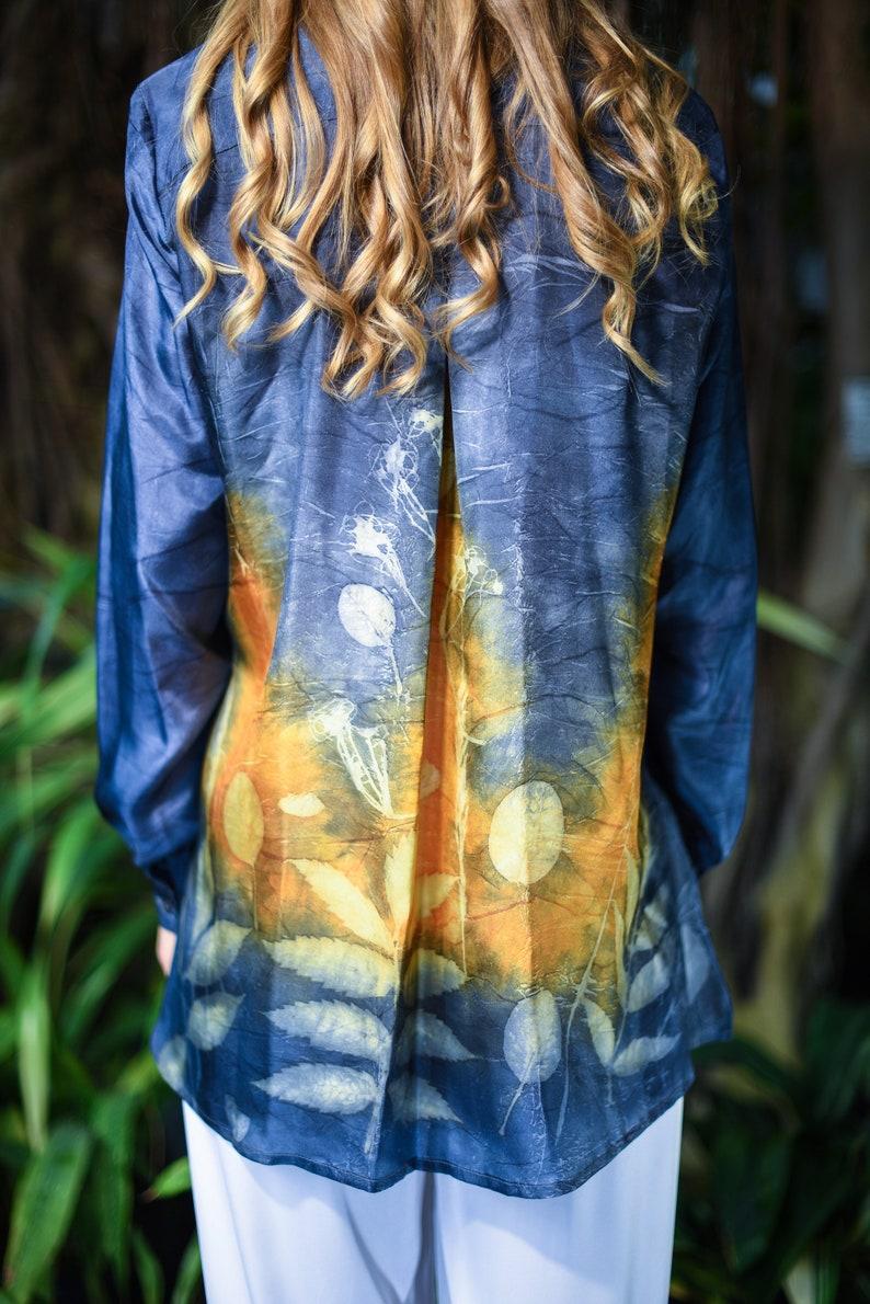 long sleeve summer blouse button down tunic women/'s long robe Handmade silk shirt