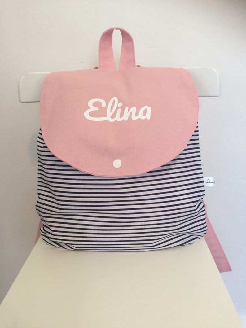 Personalised baby and child backpack  crib bag  nanny bag  navy blue white and pink navy style