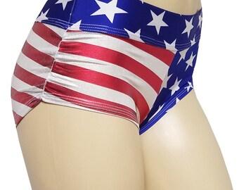 No Stringz: American Flag w/ Shiny Red White Stripe Shorts, Booty Shorts