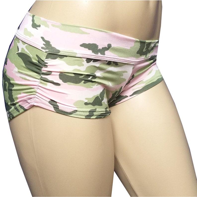 No Stringz: Light Green/Pink Camo Shorts Booty Shorts image 0