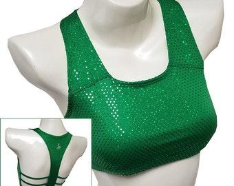 Sale (Medium) - Sportz Bra (Horizontal Style): Green Disco Dot