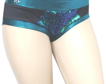 Short Shorts:    Turquoise to Black Reversible Sequin with Turquoise Trim