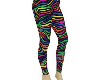 Sale (Medium) - Leggingz: Rainbow Zebra