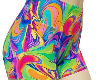 Sale (Large) - High Waisted Power Shortz: Neon Marble