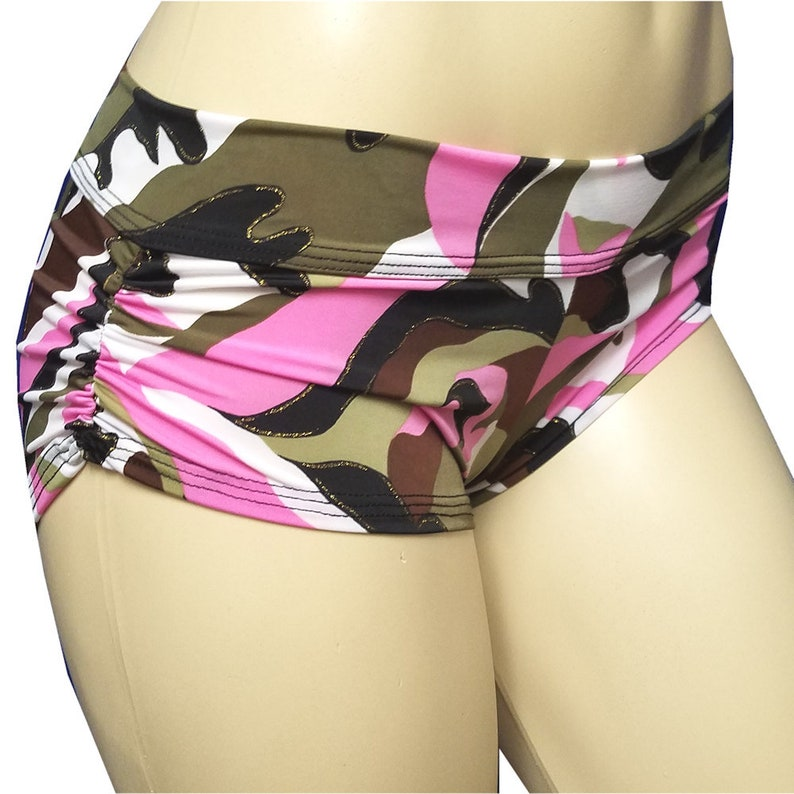 No Stringz: Pink Camo w/ Glitter Shorts Booty Shorts image 0