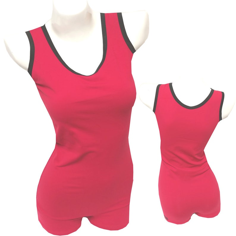 Singlets: Red with Black Trim  Wrestling Cross-fit Power image 0