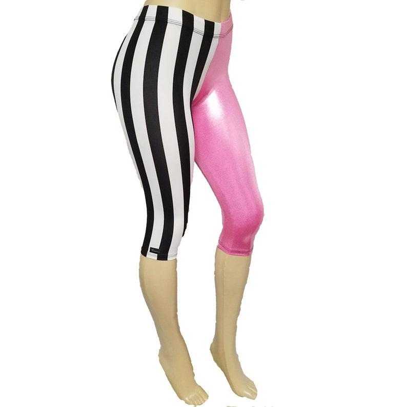 Sale Small  Capri: Black/White Stripe w/ Shiny Pink image 0