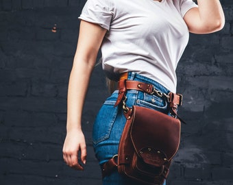 Hip bag leather for men and women