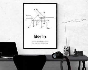 Berlin Subway Map Poster.Berlin Subway Etsy