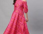 Pink Orange Bandhani Printed One Shoulder Flared Maxi Dress Free Delivery