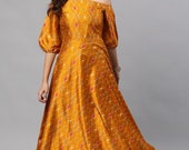 Mustard Printed One Shoulder Flared Maxi Dress Free Delivery