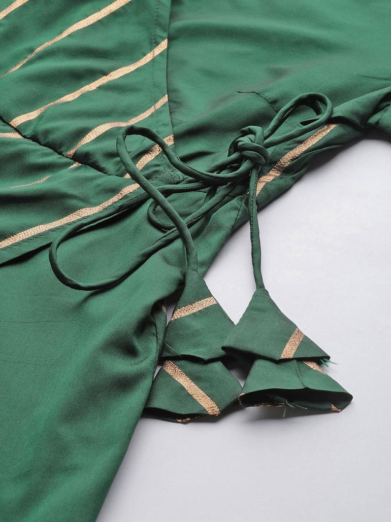 Women Green /& Golden Striped Wrap Maxi Dress Dress Free Delivery