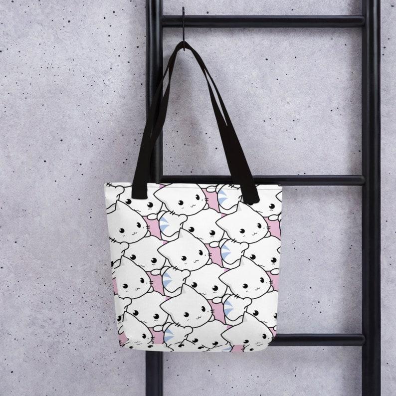 Harajuku Tote Anime Bag Groceries Bag Cat Tote Bag Cat Lover Gift Cat Bag Harajuku Grocery Bag Aesthetic Accessories