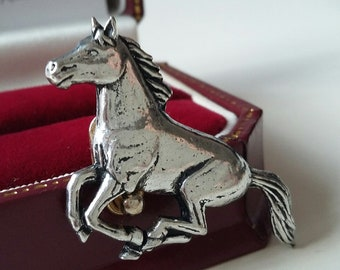 English Pewter  Pin Brooch Shire horse Badge