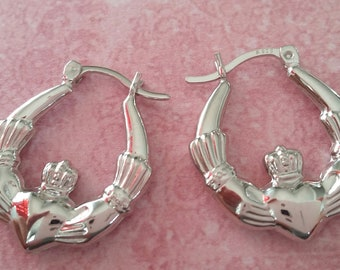 d7922d544 925 Sterling Silver Rhodium Plated 20mm Baby Fancy Claddagh Design Creole Hoop  Earrings