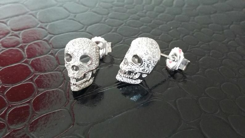 Sterling Silver & Pave Set CZ Skull Skeleton Halloween Fright image 0