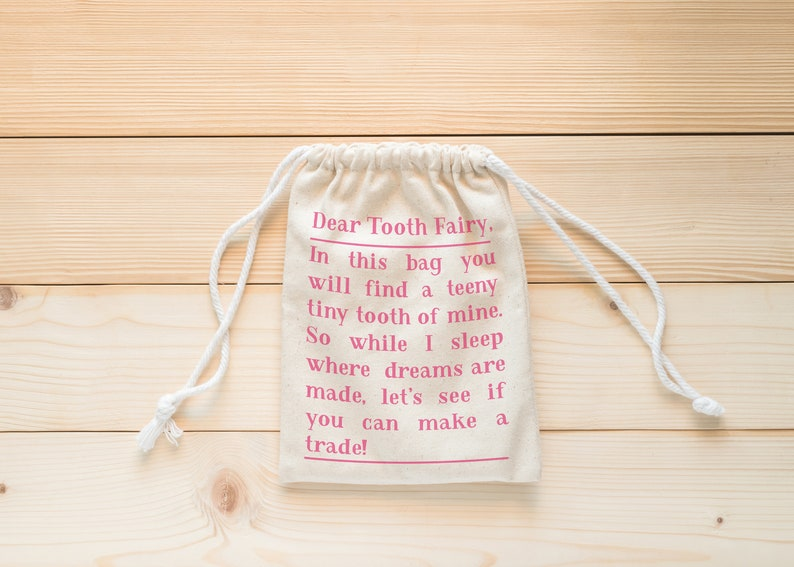 Childs personalised Tooth Fairy canvas bag pouch tooth keepsake box tub
