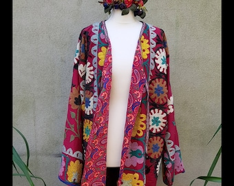fb6b73a953 Vintage Red and Multicoloured Uzbec Suzani Ethnic Gypsy Tribal Bohemian  Traditional Unisex Embroidered Coat Robe Chapan (0165)