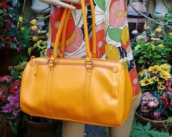 Fantastic Vintage 1990s Bright Orange Leather Bag