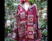Autumn Colours Up-cycled Patchwork Knitted and Crochet Bohemian Cardigan Coat (0003)