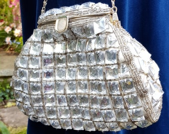 Lovely Vintage Silver Colour Sequin/Beaded Evening Bag