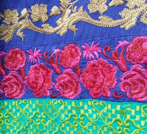 Beautiful Vintage Hand Made Blue and Gold Embroide
