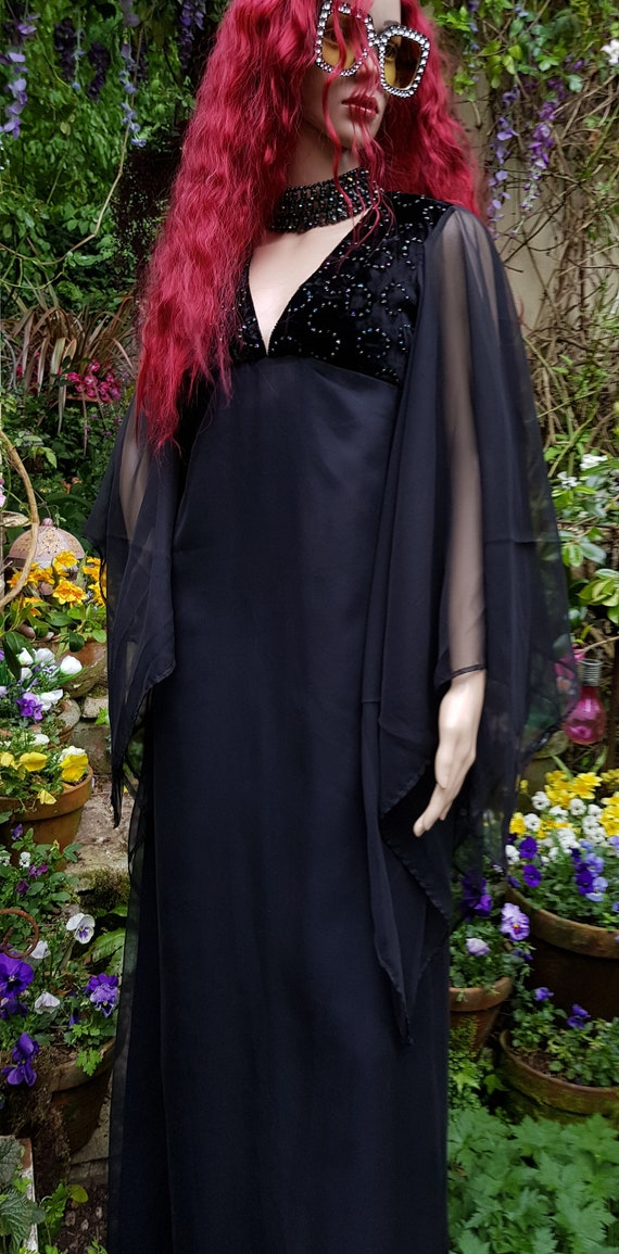 Superb Vintage 1970s Black Chiffon, Velvet and Seq