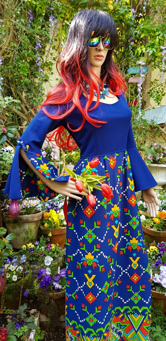 Epic Vintage 1960s Psychedelic Blue, Yellow, Red … - image 7