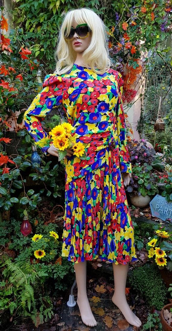 Epic Vintage 1980s Gina Bacconi Yellow, Blue, Gree