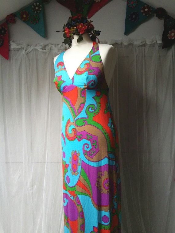 Stunning Vintage 1970s Abstract Patterned Blue, P… - image 7