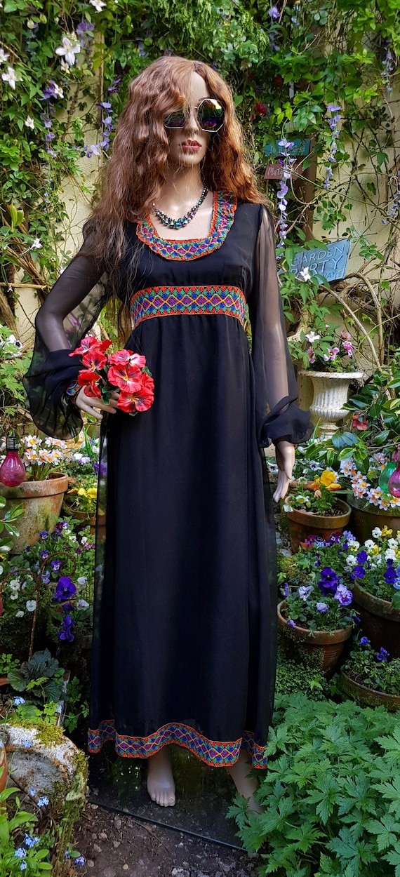Gorgeous Vintage 1970's Black Chiffon Maxi Dress b