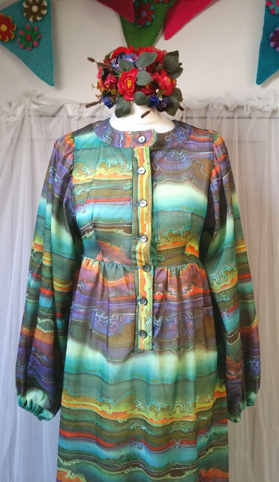 Hideously Funky Vintage1970s Multi Colour Psyched… - image 6