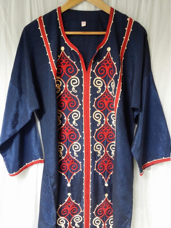 Stunning Vintage 1970s / 1980s Navy Blue and Red E
