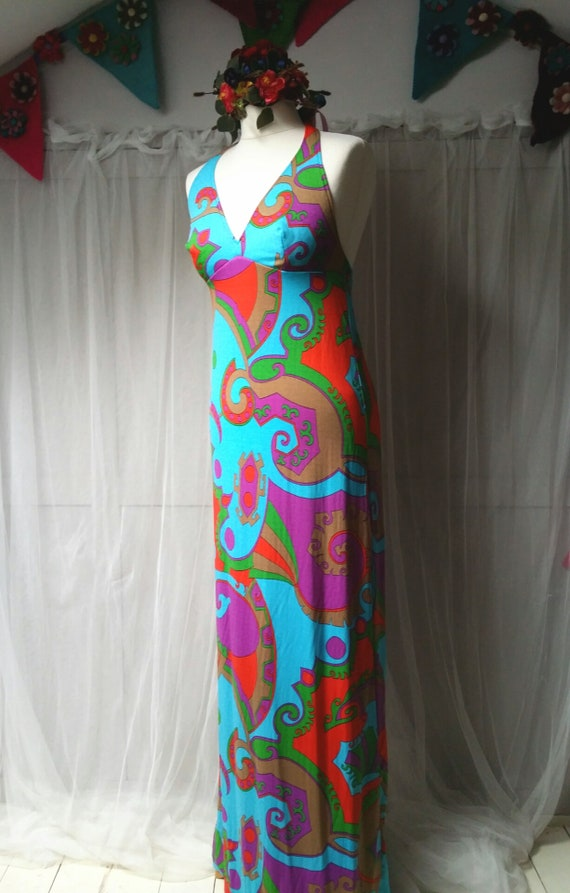 Stunning Vintage 1970s Abstract Patterned Blue, P… - image 8