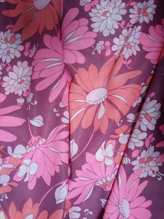 Funky Vintage Psychadelic Pink Nylon Flower Power